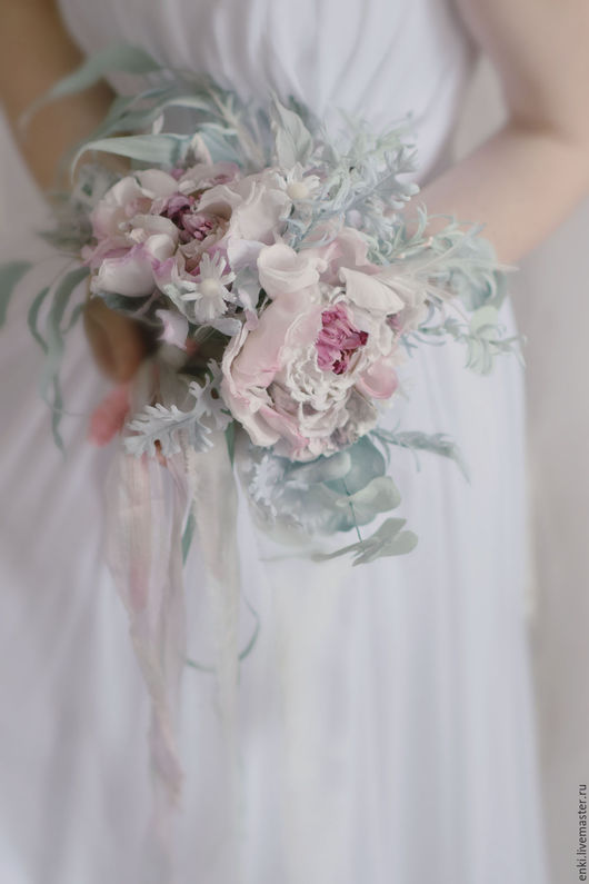 Свадебные цветы ручной работы. Ярмарка Мастеров - ручная работа. Купить Свадебный букет невесты. Цветы из шелка.. Handmade. Розовый