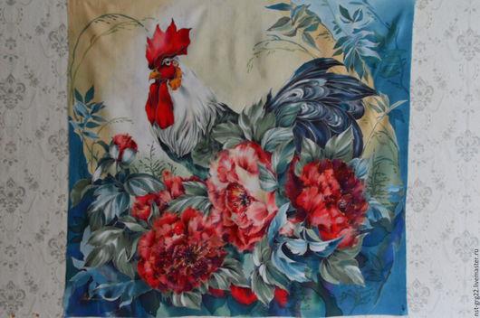 Шали, палантины ручной работы. Ярмарка Мастеров - ручная работа. Купить батик-платок батик-панно Пионы. Handmade.