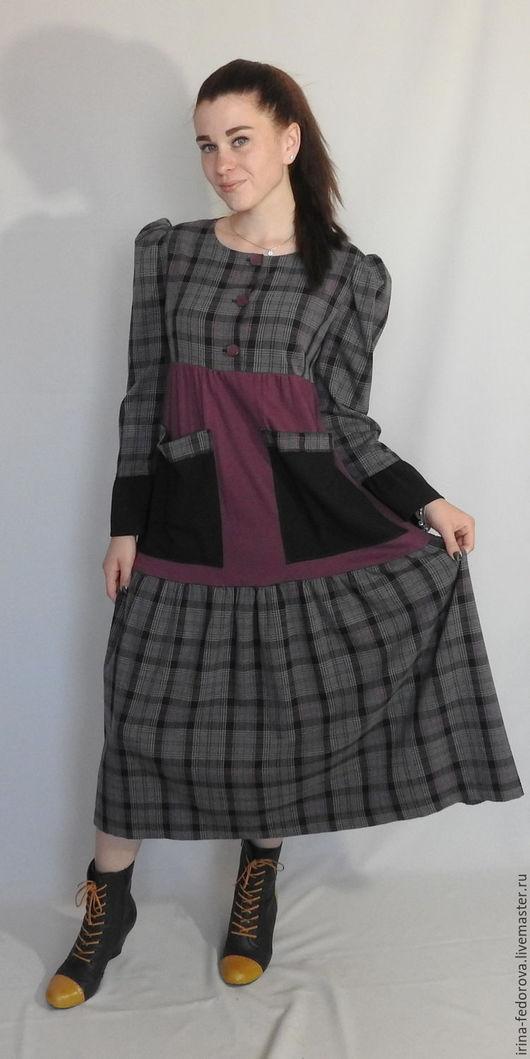 Платья ручной работы. Ярмарка Мастеров - ручная работа. Купить Платье в клетку в стиле Бохо. Handmade. Серый, клетчатое платье