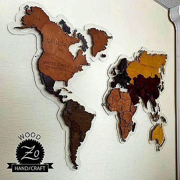 Для дома и интерьера ручной работы. Ярмарка Мастеров - ручная работа Элементы интерьера: Карты мира из дерева!. Handmade.