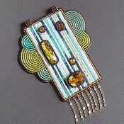 Украшения handmade. Livemaster - original item Pendant SUMMER ART DECO swarovski, beads, sequins, leather. Handmade.