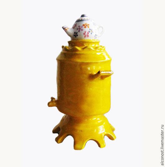 """Колокольчики ручной работы. Ярмарка Мастеров - ручная работа. Купить колокольчик """"Самовар"""". Handmade. Желтый, Керамика, керамика ручной работы"""