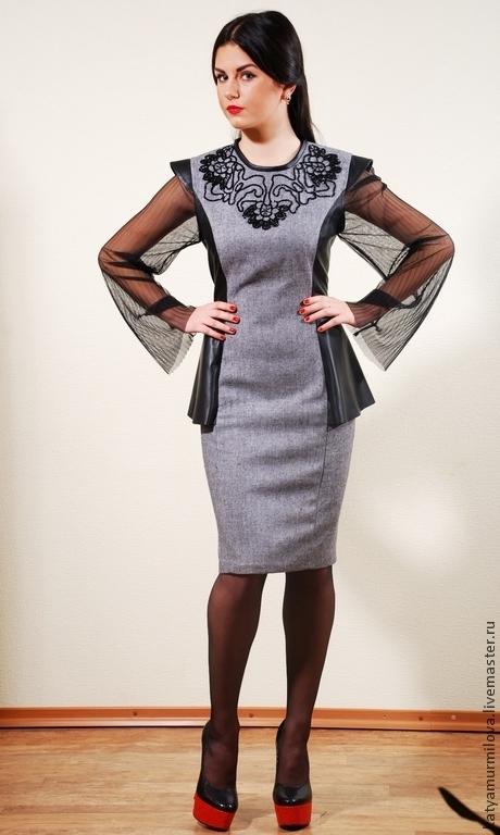 Платья ручной работы. Ярмарка Мастеров - ручная работа. Купить Авторское платье из твида и натуральной кожи. Handmade. Серый