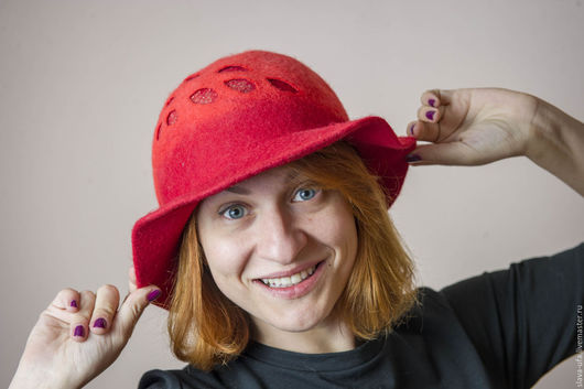 Шляпы ручной работы. Ярмарка Мастеров - ручная работа. Купить Шляпа Алая Ягода. Handmade. Ярко-красный, шляпа с полями