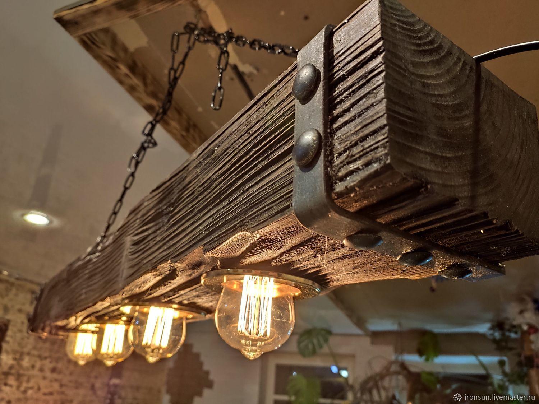 """Светильник из дерева лофт """"Брус 100*150"""", Потолочные и подвесные светильники, Тула,  Фото №1"""
