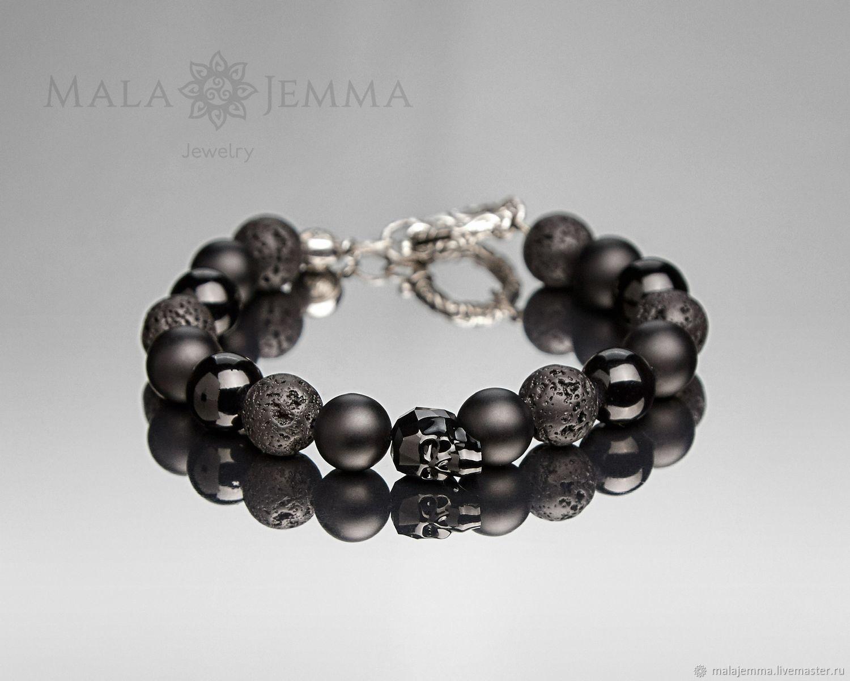 skull bracelet men's 12mm beads mix with silver lock, Bead bracelet, Magnitogorsk,  Фото №1