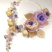 Jewelry Sets handmade. Livemaster - original item lilac foxtrot. Necklaces, three brooches flower. jewelry set.. Handmade.