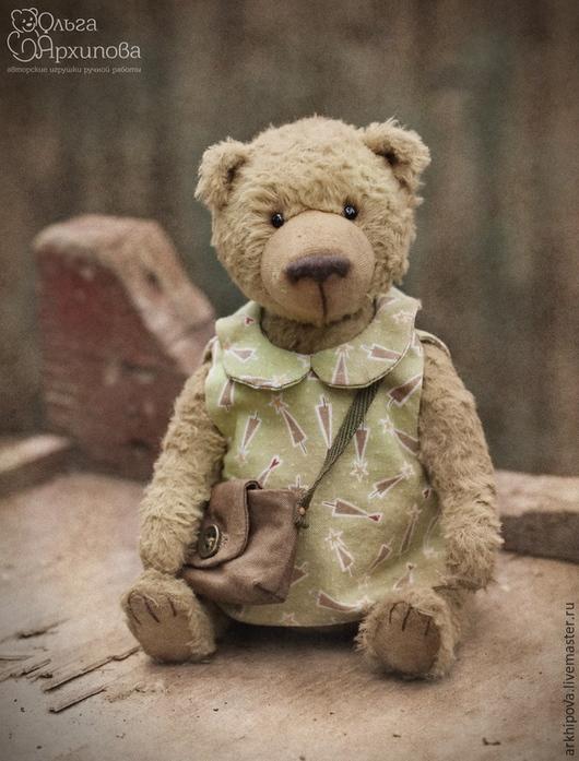Фрося Горчицина - авторский мишка Тедди девочка в платье с сумочкой (старый добрый плюшевый мишка в одежде) (винтаж, ретро, состаренное фото)