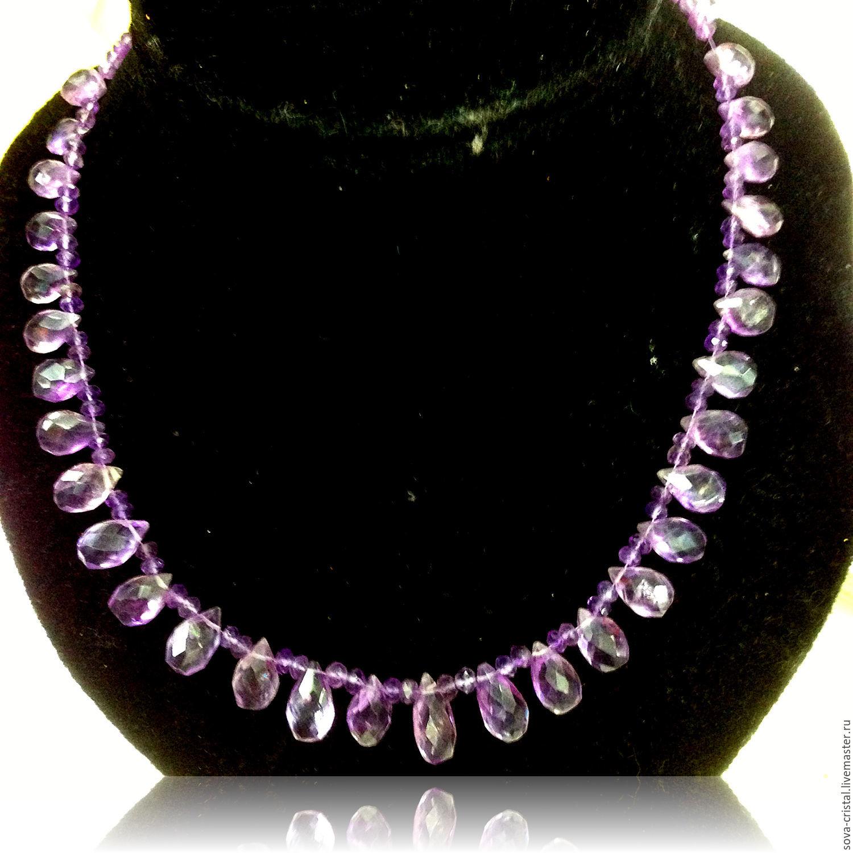 Аметистовое ожерелье. Лиловые капельки – купить в интернет-магазине ... a9bbdbc92a6c9