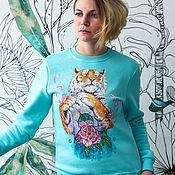 handmade. Livemaster - original item Sweatshirt sweatshirt blue Tiger and flowers hand painted. Handmade.