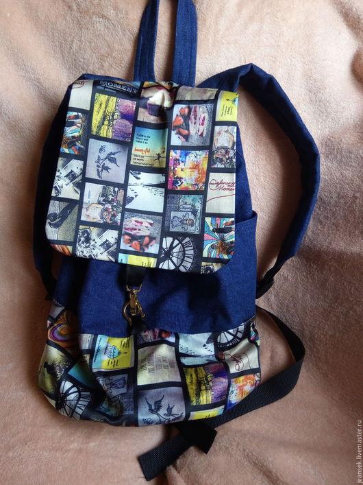 Рюкзаки ручной работы. Ярмарка Мастеров - ручная работа. Купить Джинсовый рюкзак. Handmade. Синий, рюкзачок, гламурный рюкзак, сумка