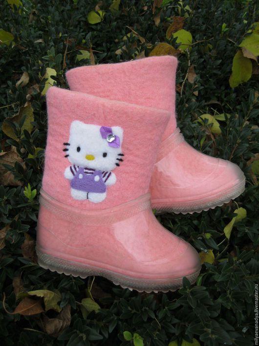 """Детская обувь ручной работы. Ярмарка Мастеров - ручная работа. Купить Валенки детские для улицы """"Китти"""". Handmade. Розовый, киска"""