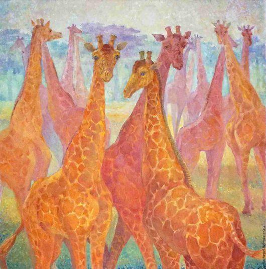 Жирафы. Анна Чепель. 100×100 см.,холст, масло, 2015.  Жирафы в розово-коралловых тонах на голубоватом фоне природы.