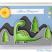 Открытки ручной работы. Ярмарка Мастеров - ручная работа Открытка с динозавриком к дню рождения. Handmade.