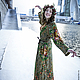 Платье из павловопосадских платков Осенние кружева, длинное, прямое, на подкладке вискоза 100%, по косой, на рост от 160-175, приятное к телу, можно под пояс.