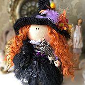 Тыквоголовка ручной работы. Ярмарка Мастеров - ручная работа Ведьмочка. Интерьерная кукла ручной работы. Текстильная кукла. Handmade.