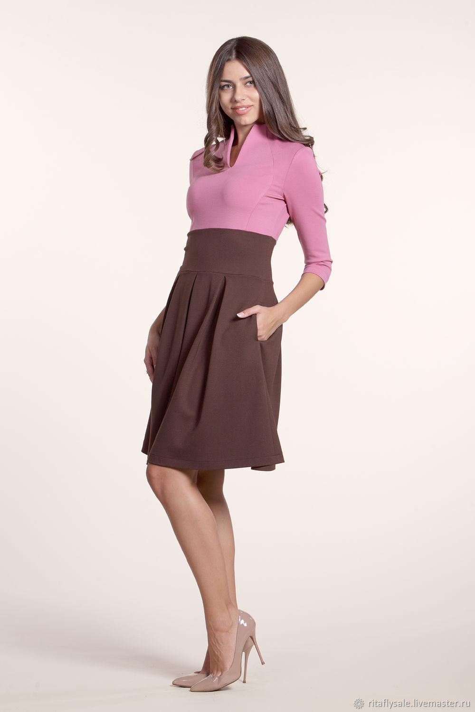 033: 42 размер - повседневное платье с юбкой из джерси, Платья, Москва, Фото №1
