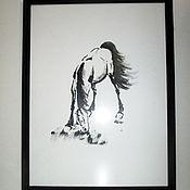 Картины и панно ручной работы. Ярмарка Мастеров - ручная работа картина лошадь Рассвет суми-е. Handmade.