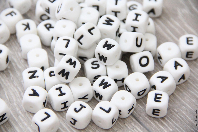Силиконовые бусины кубики с буквами, Бусины, Воронеж,  Фото №1