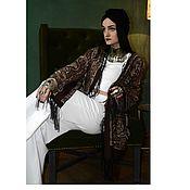 Одежда ручной работы. Ярмарка Мастеров - ручная работа Шикарная коричневая накидка в стиле бохо, Кимоно с бахромой. Handmade.