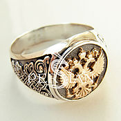 Украшения handmade. Livemaster - original item Ring-signet: Silver signet ring with gold coat of arms of Russia. Handmade.