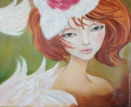 """Фантазийные сюжеты ручной работы. Ярмарка Мастеров - ручная работа. Купить Картина маслом """" Ангел в моем сердце"""". Handmade."""