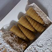 Свечи ручной работы. Ярмарка Мастеров - ручная работа Набор свечей из вощины в форме конуса 6 шт. Handmade.