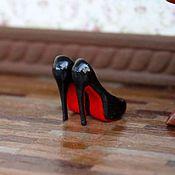"""Куклы и игрушки ручной работы. Ярмарка Мастеров - ручная работа Туфли """"Лабутены"""" для миниатюры в масштабе 1/12. Handmade."""