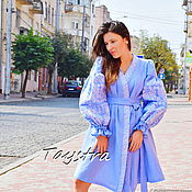Одежда handmade. Livemaster - original item Dressing Gown Color Embroidery Linen Vyshyvanka Ukrainian Dress. Handmade.