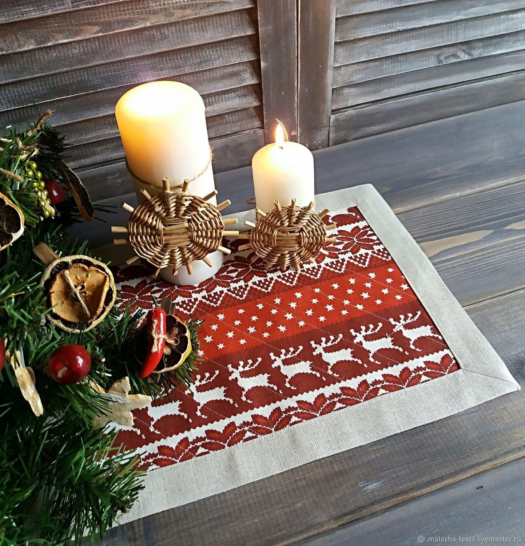 Lunchmate linen Christmas Scandinavia red, Swipe, Krasnoyarsk,  Фото №1