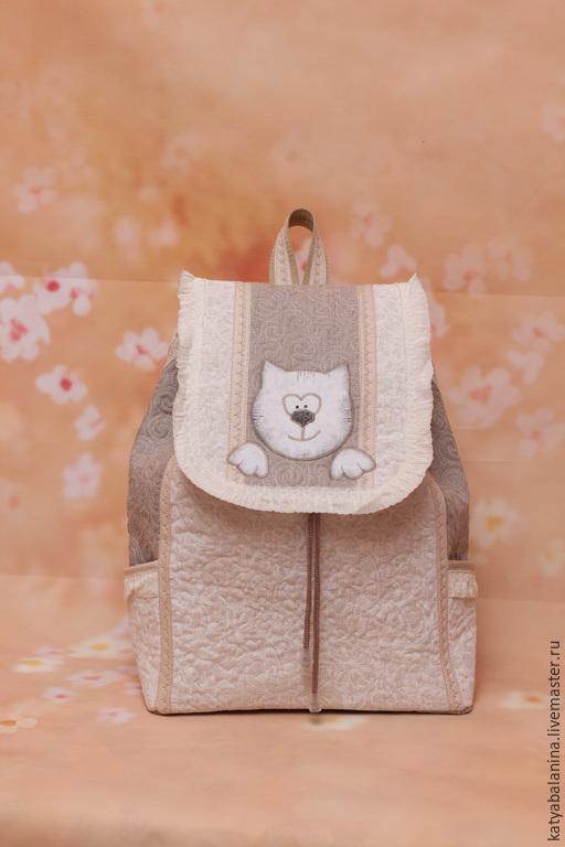 """Рюкзаки ручной работы. Ярмарка Мастеров - ручная работа. Купить Рюкзак """"Белая кошка"""". Handmade. Белый, рюкзак, рюкзак для девушки"""