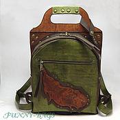 """Кожаный городской рюкзак """" Шервудский лес"""""""