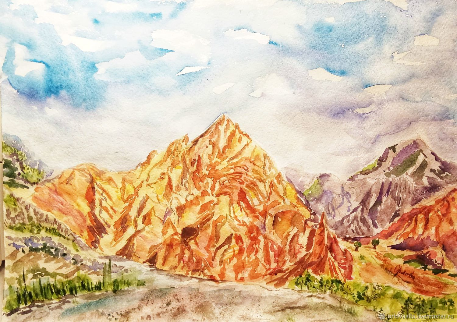Painting With A Mountain Landscape Orange Mountains, Pictures, Moscow,  Фото №1