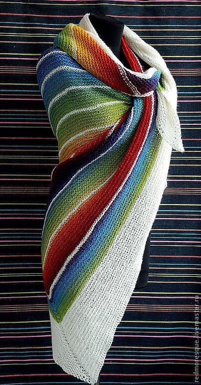 """Шали, палантины ручной работы. Ярмарка Мастеров - ручная работа. Купить Шаль """"Asymmetric rainbow"""". Handmade. В полоску, подарок"""