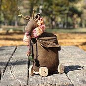 Чердачная кукла ручной работы. Ярмарка Мастеров - ручная работа Олень на колёсах. Handmade.