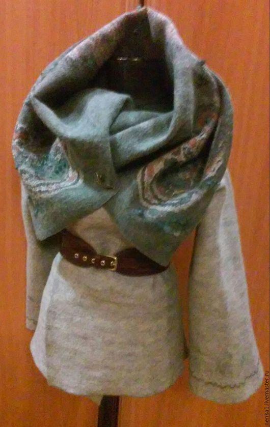Верхняя одежда ручной работы. Ярмарка Мастеров - ручная работа. Купить пальто-трансформер валяное, женское. Handmade. Тёмно-зелёный