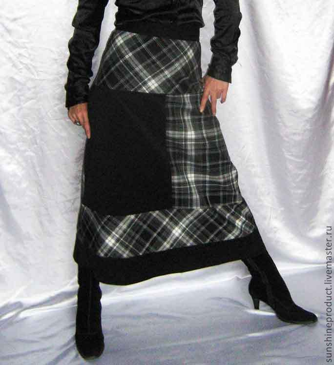 Skirts handmade. Livemaster - handmade. Buy Skirt 'Autumn Geometric'.Black and white, in the box, skirt elegant