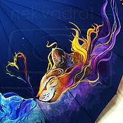 Аксессуары ручной работы. Ярмарка Мастеров - ручная работа Расписной зонтик Пара на синем. Handmade.
