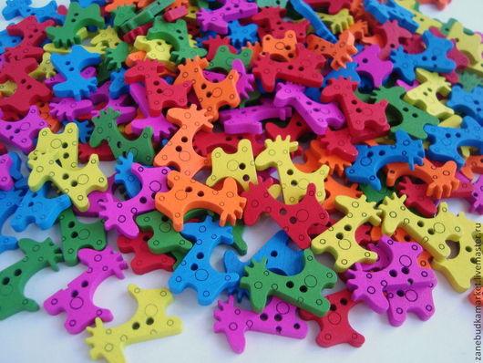 Шитье ручной работы. Ярмарка Мастеров - ручная работа. Купить Пуговицы Жирафы деревянные цветные. Handmade. Пуговицы, пуговица