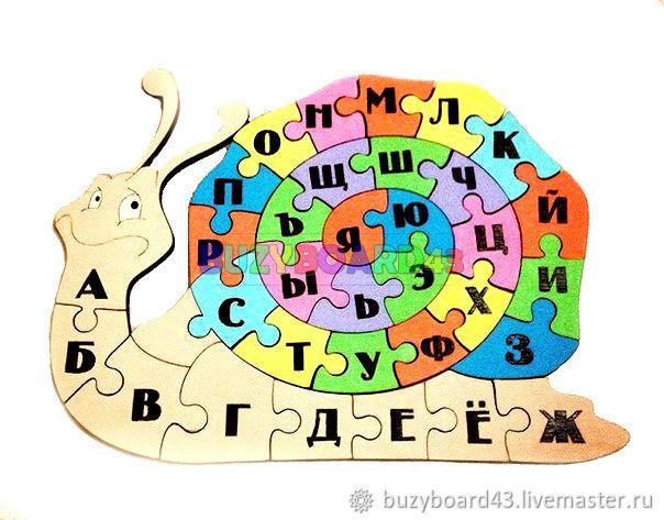 Заготовка для Бизиборда Алфавит-улитка развивашка -раскраска, Бизиборды, Киров,  Фото №1