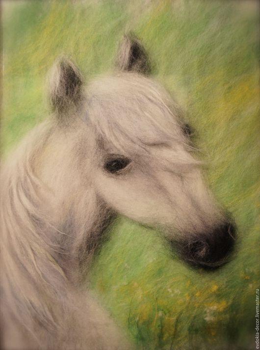 Животные ручной работы. Ярмарка Мастеров - ручная работа. Купить Белая лошадь. Handmade. Лошадь, белая лошадь, картина лошадь