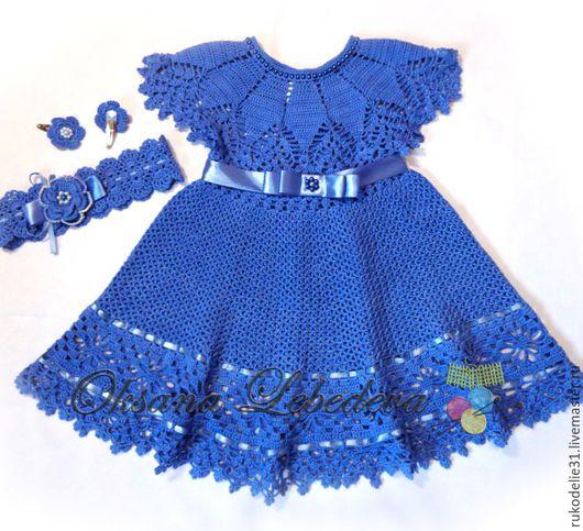 Одежда для девочек, ручной работы. Ярмарка Мастеров - ручная работа. Купить Платье для девочки вязаное летнее крючком из хлопка Ультрамарин. Handmade.