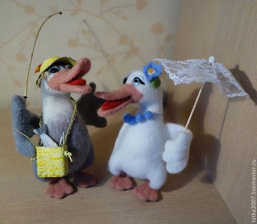 """Игрушки животные, ручной работы. Ярмарка Мастеров - ручная работа. Купить Валяная игрушка """" Сладкая парочка- Гусь да Гагарочка"""". Handmade."""
