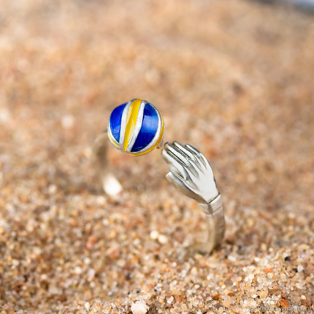 Mikasa volleyball ball, ring with enamel, Rings, Tver,  Фото №1