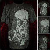 """Одежда handmade. Livemaster - original item Льняная пряжа.Мужская футболка """"Башни""""Связана на вязальной машине. Handmade."""