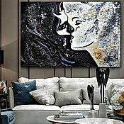 Картины и панно handmade. Livemaster - original item Painting interior Kiss, black and white abstraction. Handmade.