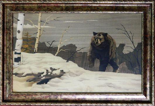 Картина `Медведь шатун` шпон-маркетри