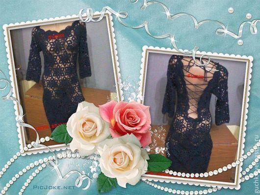 """Платья ручной работы. Ярмарка Мастеров - ручная работа. Купить платье """"Обаяние"""". Handmade. Тёмно-синий, платье крючком"""