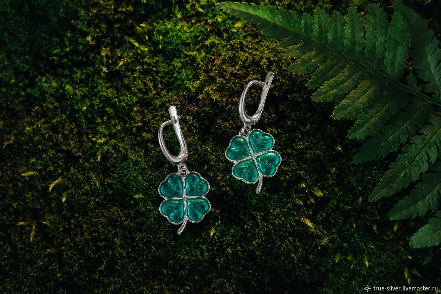 Earrings and pendant four-Leaf clover 925 silver with enamel, Jewelry Sets, Moscow,  Фото №1