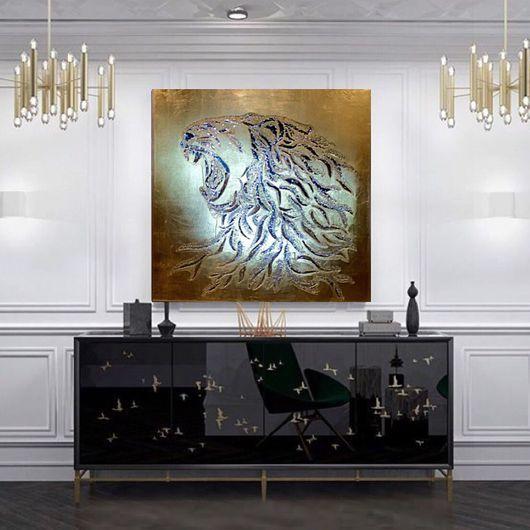 Абстракция ручной работы. Ярмарка Мастеров - ручная работа. Купить Золотой лев. Handmade. Картина, подарок, зеркала, стихия, хрусталь